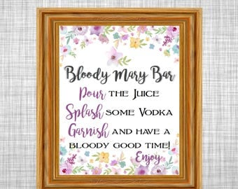 Bridal Shower Bloody Mary Bar Sign - Wild Flowers Theme Printable Bridal Shower - Bloody Mary Bar Sign - Bridal Shower Decorations WFL77