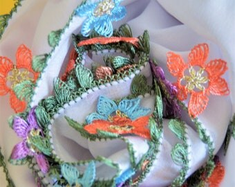 cotton,wrap,veil,infinity,latin,hand knitted,crochet scarf,weft,floral,natural coloring,necklace,gift for her,moms gift,multicolored flowers