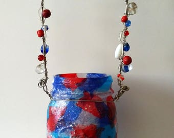 Fourth of July Hanging Mason Jar Luminary