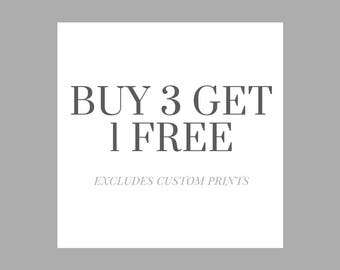 Buy 3 x A4 Prints Get 1 Free Special Offer - Wall Art, Kids Bedroom, Minimalist Print, Nursery Print, Personal Print, Home Decor