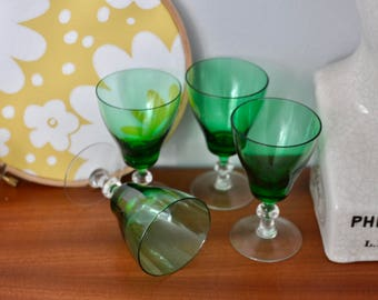French Vintage Emerald Green Drinking Glasses - Wine Glasses, Vintage Glassware, Antique Glasses.