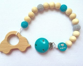 """Pacifier / teether wooden """"I love dad"""" """"I love mom"""" with name"""