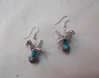 Birds earrings on summer beads