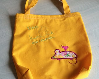 Tote bag tote for kids 100% cotton Yellow Sun embroidered green mouse