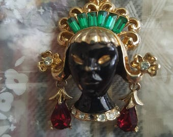 Vintage Brooch Piece - Costume Jewelry - Black Lady Head with Headdress and Gemstones