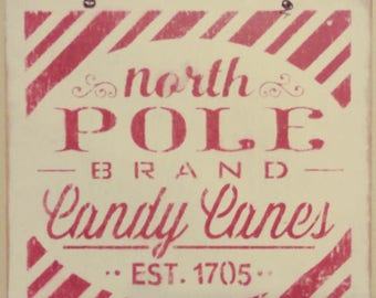 Rustic North Pole Candy Canes Wood and Wire Christmas Winter Primitive Wall Hanging Sign