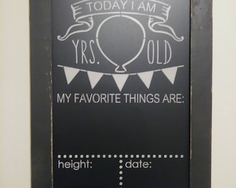 Country Rustic Chalkboard Birthday Details Includes White Chalk Pen With Wood Frame