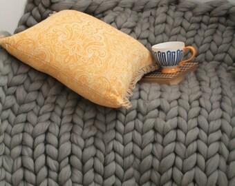 Chunky Knit Merino Wool Blanket.  Super bulky merino yarn.  Very thick extreme arm knitting.  Luxury home styling.