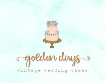 Hand-painted Watercolor Floral Wedding Tiered Cake Pre-made Logo Design in gold & pastel colors.