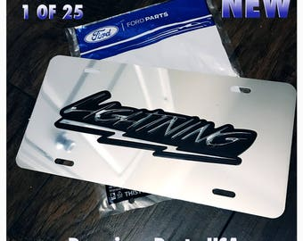 Ford Lightning 3D License Plate New Limited Mirror Chrome Custom F150 F250 F350 King Ranch 1PC