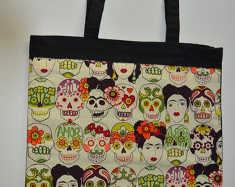 Frida Kahlo Tote Bag, Sugar Skulls and Frida Kahlo Print