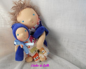 Hugo (22cm) and little brother (14 cm), Waldorf dolls