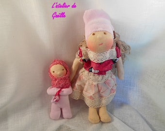 Heloise and her sister, 30 Waldorf dolls and 15 cm, unique creations