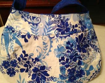 Pleated Blue and White Handbag