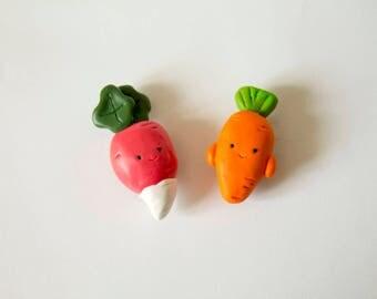 Veggie, vegetables, vegetables, radish, carrot, carrot, radish, fimo, magnet, magnet, polymer clay, clay polymer, cute, kawaii