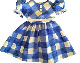 Blue and White Gingham Doll Dress