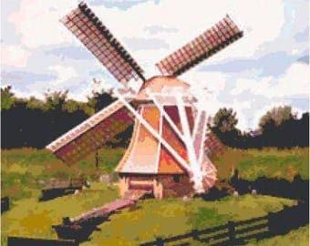 Dutch Windmill Cross Stitch Chart