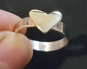 Sterling silver heart shaped handmade ring