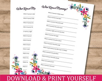 Printable Floral A4 Who Knows Mummy Game For Baby Shower. Digital Download
