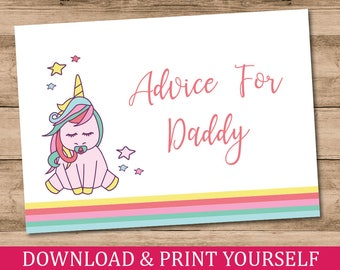 Printable, Personalised A6 Advice For Daddy Baby Shower Game. Unicorn Design. Digital Download.
