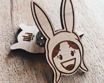 Louise Belcher Wooden Pin - Enamel Pin, Pins, Laser Engraved, TV Shows, Hat pin, Burgers, Jacket Pins, Enamel Pins, Comics, Wearables, Gift