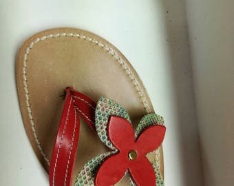 Handmade red leather thong sandals
