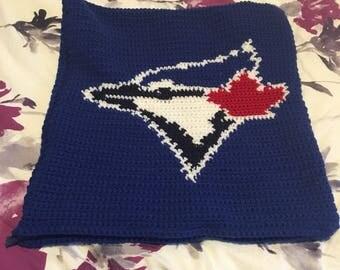 Crochet Blue Jays Number Pillow
