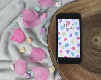 Conversation Hearts Wallpaper for iPhone 6, 6S, 7, 8