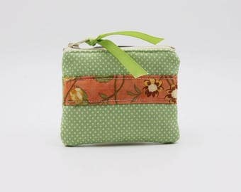 Off White Dots on Green with Coral Floral Stripe Coin Purse