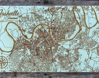 Nashville, Tennessee Street - Wood Burned Map