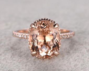 4.50ct Oval Cut Halo Morganite Engagement Ring 14k Rose Gold Gemstone Promise Bridal Ring For Women