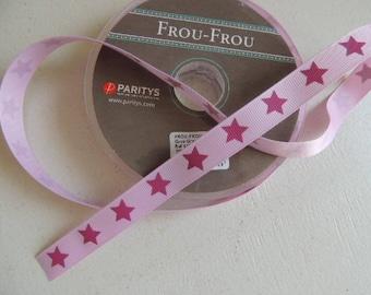 Fantasy pink star grosgrain dark pink