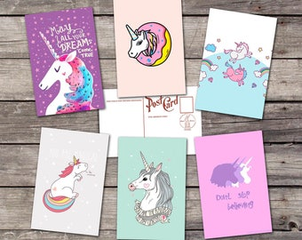 Unicorn set 6 postcards | unicorn art | unicorn print | unicorn art print | unicorn wall art | unicorn poster | unicorn wall decor |