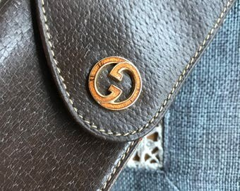 Vintage Gucci Brown Leather Eyeglass Case