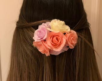 White Pink and Lilac Artificial Floral Headpiece/Clip