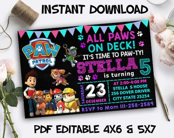 Paw Patrol Invitation, Paw Patrol Birthday, Paw Patrol Party, Paw Patrol PDF Editable, Paw Patrol Instant Download, Paw Patrol Printables