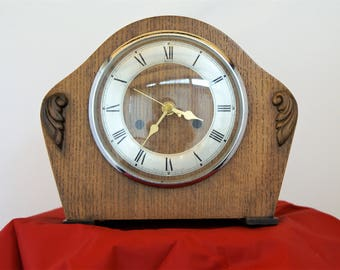 Clock, 1940s oak veneer, vintage,  reconditioned
