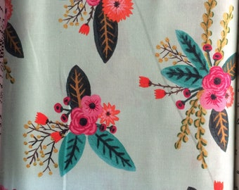 Windham Meriwether Mint Floral Fabric BTY