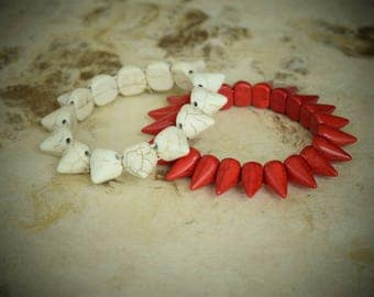 Beaded Bracelets in Beige and Red Color, Cone-Shaped. Super modern and cool style. Gift for her.
