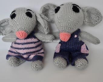 The Little Grey Mice stuffed handmade knit dolls