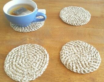 Crochet Coasters - Crochet Coaster Set - Jute Crochet Coaster set of 4