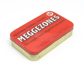 Meggezones Tin, Collectible Tin, Medical Tin, Metal Tin, Metal Storage Tin, Hinged Lid Tin, Medicine Tin, Made In England