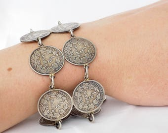 Silver coin bracelet from genuine 1/2 - mark coins