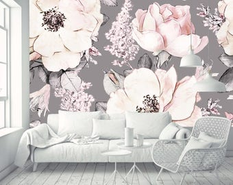 Removable Wallpaper Mural Peel & Stick Watercolor Seamless Pattern with Pink Flowers and Leaves on Gray Background
