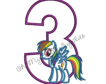 Color Spectrum Pony with number 3 Applique Embroidery Design