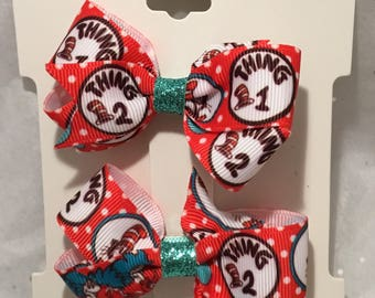 Dr Seuss Pigtail Hair Bow Set