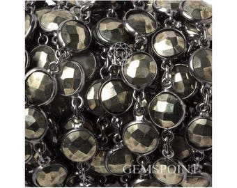 Pyrite Bezel Connector Chains, Silver Plated Bezel Chains, Pyrite Coin Bezel Connector Chains, 9mm, Sold By Foot (PYR-13948)