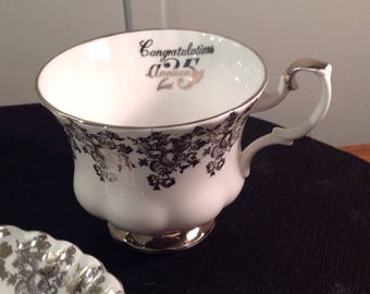 Royal Albert 25th Anniversary silver etched tea cup