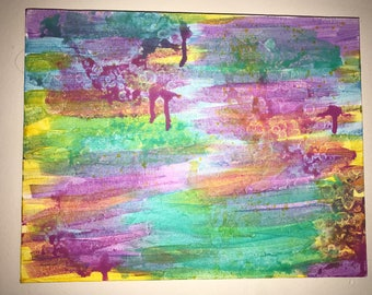 Abstract multi color acrylic on canvas 11x14