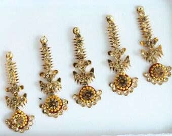 5 Gold Bindis Pack,Bridal Long Bindis Sticker,Stone Bindi,Gold Bindis Face Jewels Bindis ,Antique Bindis,Body Art Glittery Bindi